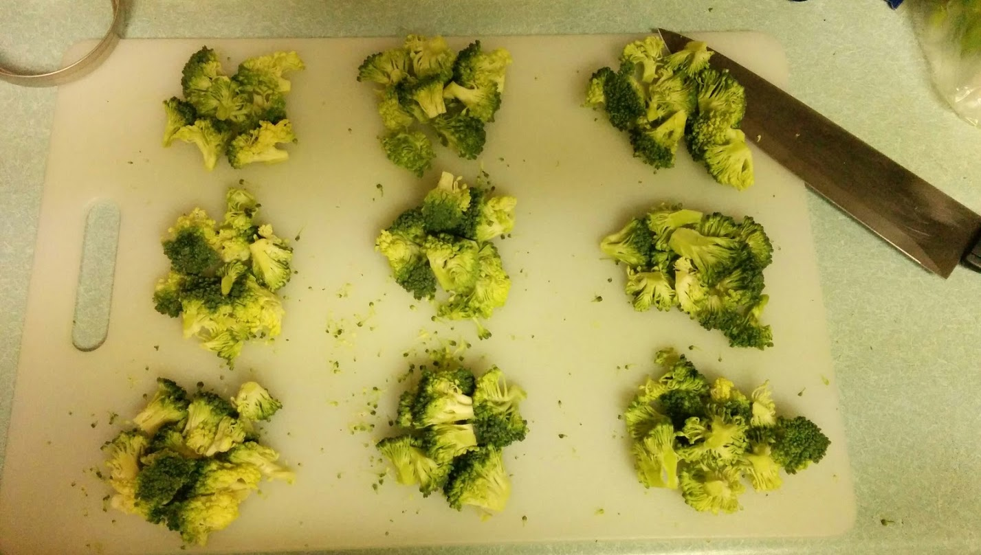 Broccoli chopped and divided