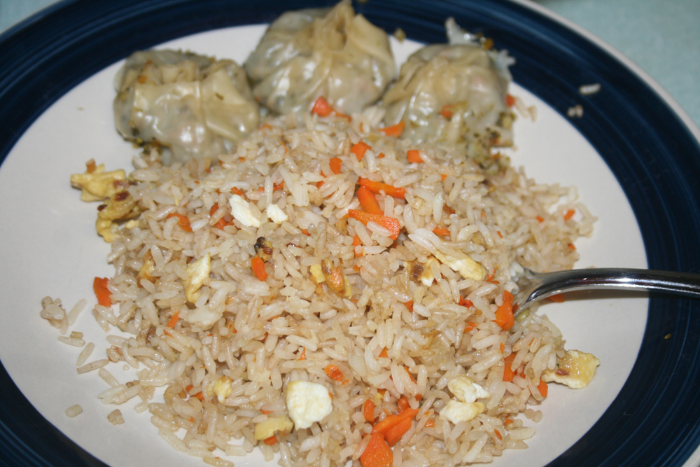 Steamed dumplings with fried rice